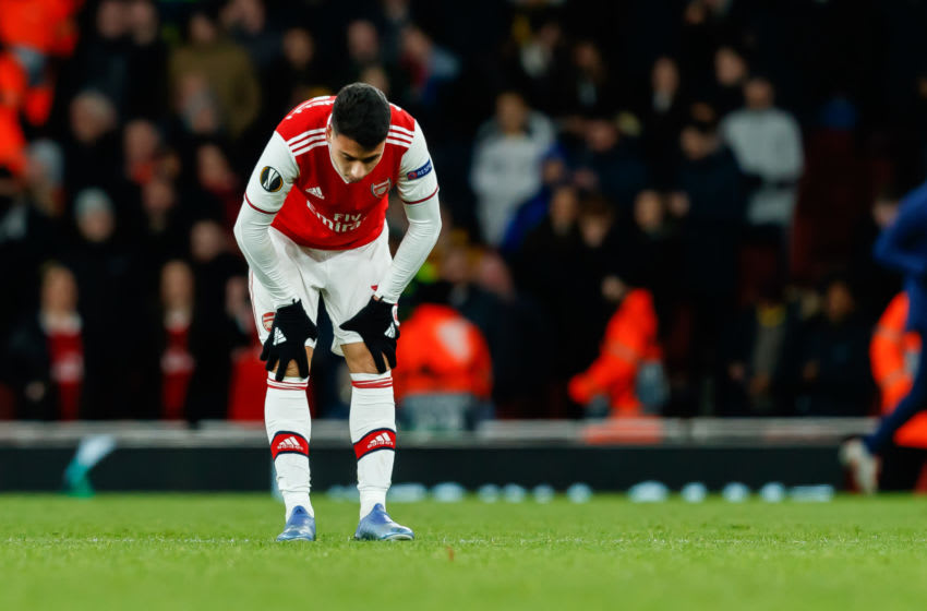 LONDON, ENGLAND - FEBRUARY 27: (BILD ZEITUNG OUT) Gabriel Martinelli of Arsenal FC looks dejected after the UEFA Europa League round of 32 second leg match between Arsenal FC and Olympiacos FC at Emirates Stadium on February 27, 2020 in London, United Kingdom. (Photo by Roland Krivec/DeFodi Images via Getty Images)