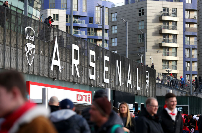LONDON, ENGLAND - FEBRUARY 23: General view outside the stadium as fans arrive prior to the Premier League match between Arsenal FC and Everton FC at Emirates Stadium on February 23, 2020 in London, United Kingdom. (Photo by Catherine Ivill/Getty Images)