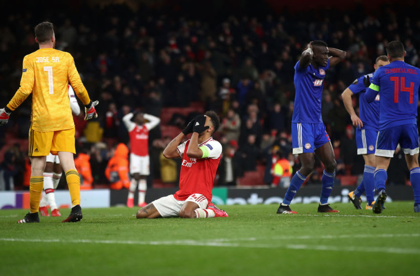 LONDON, ENGLAND - FEBRUARY 27: Pierre-Emerick Aubameyang of Arsenal looks dejected after his missed chance towards the end of time during the UEFA Europa League round of 32 second leg match between Arsenal FC and Olympiacos FC at Emirates Stadium on February 27, 2020 in London, United Kingdom. (Photo by Julian Finney/Getty Images)