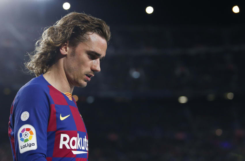 BARCELONA, SPAIN - MARCH 07: Antoine Griezmann of FC Barcelona gestures during the Liga match between FC Barcelona and Real Sociedad at Camp Nou on March 07, 2020 in Barcelona, Spain. (Photo by Eric Alonso/MB Media/Getty Images)
