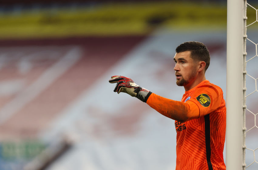 BIRMINGHAM, ENGLAND - NOVEMBER 21: Mathew Ryan of Brighton and Hove Albion during the Premier League match between Aston Villa and Brighton & Hove Albion at Villa Park on November 21, 2020 in Birmingham, United Kingdom. Sporting stadiums around the UK remain under strict restrictions due to the Coronavirus Pandemic as Government social distancing laws prohibit fans inside venues resulting in games being played behind closed doors. (Photo by Matthew Ashton - AMA/Getty Images)