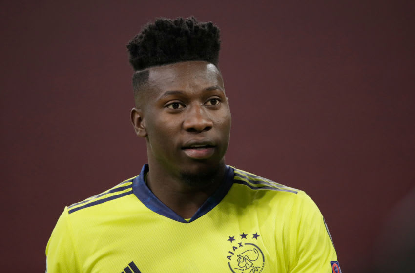 AMSTERDAM, NETHERLANDS - DECEMBER 9: Andre Onana of Ajax during the UEFA Champions League match between Ajax v Atalanta Bergamo at the Johan Cruijff Arena on December 9, 2020 in Amsterdam Netherlands (Photo by Laurens Lindhout/Soccrates/Getty Images)
