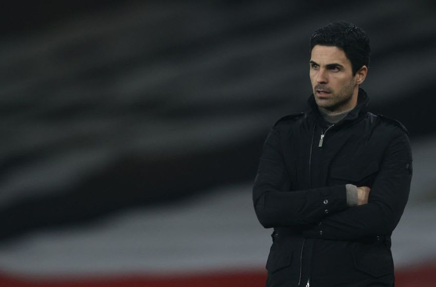 Arsenal's Spanish manager Mikel Arteta during the English League Cup quarter final football match between Arsenal and Manchester City at the Emirates Stadium, in London on December 22, 2020. (Photo by Adrian DENNIS / AFP) / RESTRICTED TO EDITORIAL USE. No use with unauthorized audio, video, data, fixture lists, club/league logos or 'live' services. Online in-match use limited to 120 images. An additional 40 images may be used in extra time. No video emulation. Social media in-match use limited to 120 images. An additional 40 images may be used in extra time. No use in betting publications, games or single club/league/player publications. / (Photo by ADRIAN DENNIS/AFP via Getty Images)