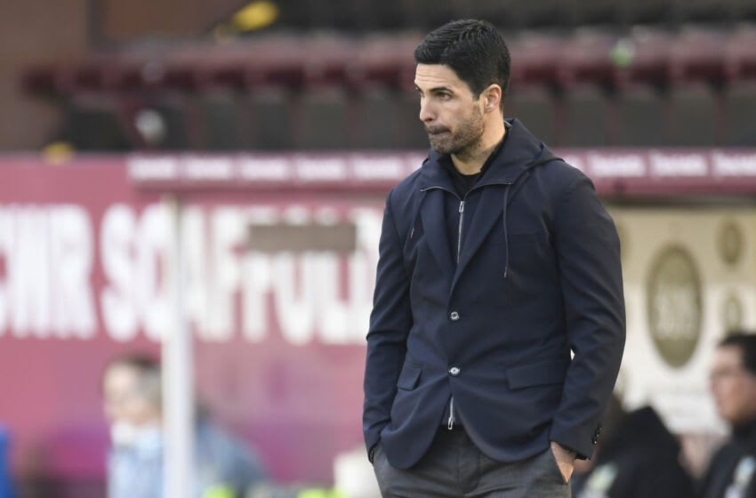 Arsenal's Spanish manager Mikel Arteta reacts during the English Premier League football match between Burnley and Arsenal at Turf Moor in Burnley, north west England on March 6, 2021. (Photo by PETER POWELL / POOL / AFP) / RESTRICTED TO EDITORIAL USE. No use with unauthorized audio, video, data, fixture lists, club/league logos or 'live' services. Online in-match use limited to 120 images. An additional 40 images may be used in extra time. No video emulation. Social media in-match use limited to 120 images. An additional 40 images may be used in extra time. No use in betting publications, games or single club/league/player publications. / (Photo by PETER POWELL/POOL/AFP via Getty Images)