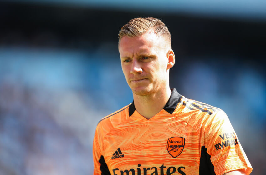 MANCHESTER, ENGLAND - AUGUST 28: Bernd Leno of Arsenal during the Premier League match between Manchester City and Arsenal at Etihad Stadium on August 28, 2021 in Manchester, England. (Photo by Robbie Jay Barratt - AMA/Getty Images)
