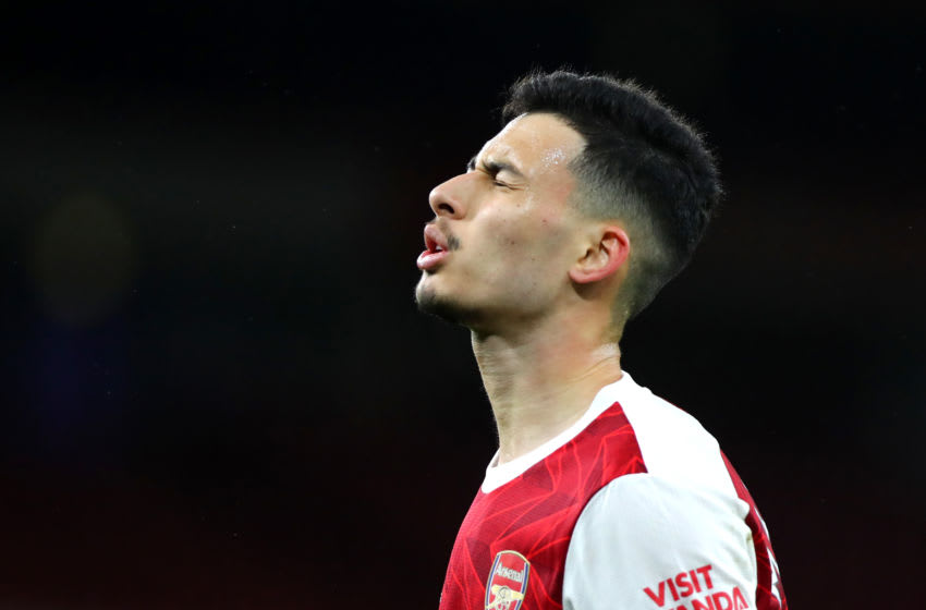 LONDON, ENGLAND - DECEMBER 26: Gabriel Martinelli of Arsenal reacts during the Premier League match between Arsenal and Chelsea at Emirates Stadium on December 26, 2020 in London, England. The match will be played without fans, behind closed doors as a Covid-19 precaution. (Photo by Chloe Knott - Danehouse/Getty Images)