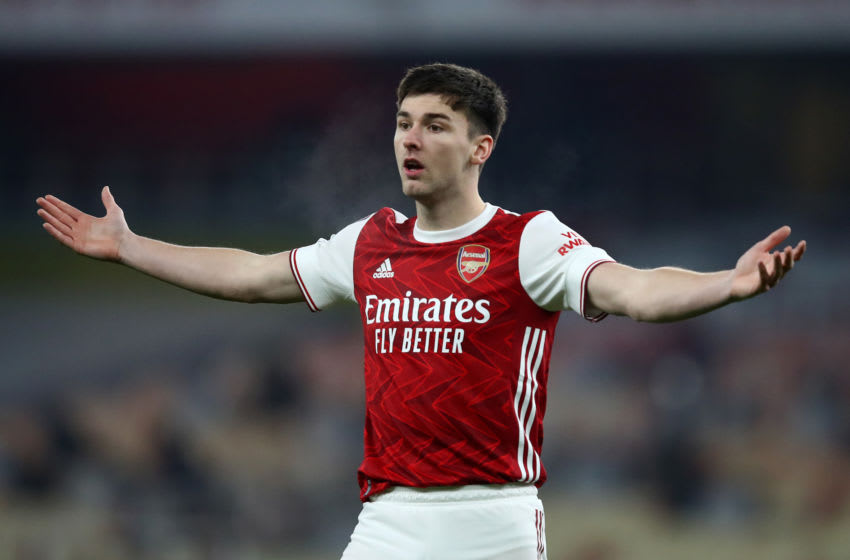 LONDON, ENGLAND - JANUARY 09: Kieran Tierney of Arsenal reacts during the FA Cup Third Round match between Arsenal and Newcastle United at Emirates Stadium on January 09, 2021 in London, England. The match will be played without fans, behind closed doors as a Covid-19 precaution. (Photo by Julian Finney/Getty Images)