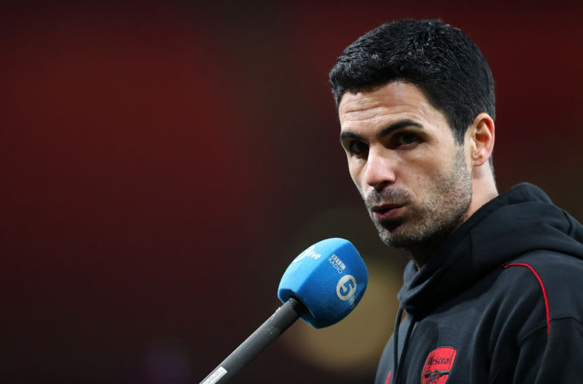 LONDON, ENGLAND - MARCH 14: Arsenal Manager Mikel Arteta speaks to the media after the Premier League match between Arsenal and Tottenham Hotspur at Emirates Stadium on March 14, 2021 in London, England. Sporting stadiums around the UK remain under strict restrictions due to the Coronavirus Pandemic as Government social distancing laws prohibit fans inside venues resulting in games being played behind closed doors. (Photo by Chloe Knott - Danehouse/Getty Images)
