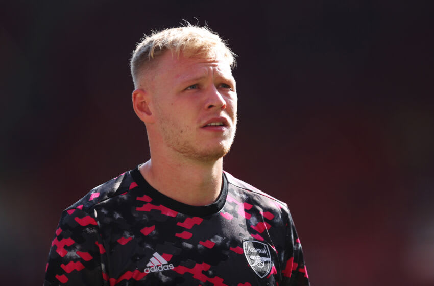 LONDON, ENGLAND - SEPTEMBER 11: Aaron Ramsdale of Arsenal looks on as he warms up prior to the Premier League match between Arsenal and Norwich City at Emirates Stadium on September 11, 2021 in London, England. (Photo by Julian Finney/Getty Images)