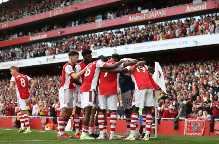 LONDON, ENGLAND - SEPTEMBER 11: Pierre-Emerick Aubameyang of Arsenal celebrates after scoring their side's first goal during the Premier League match between Arsenal and Norwich City at Emirates Stadium on September 11, 2021 in London, England. (Photo by Julian Finney/Getty Images)