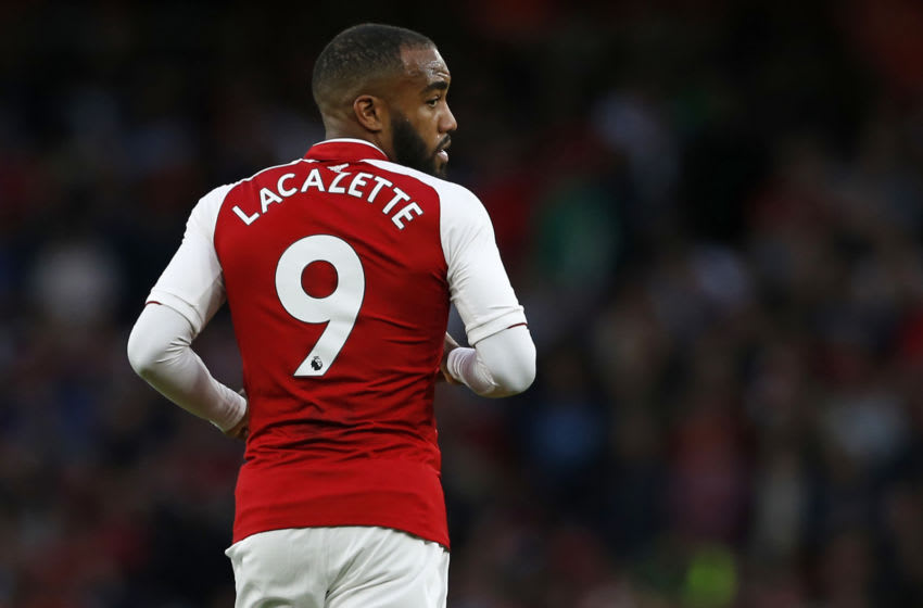 Arsenal's French striker Alexandre Lacazette is pictured during the English Premier League football match between Arsenal and Leicester City at the Emirates Stadium in London on August 11, 2017. / AFP PHOTO / Ian KINGTON / RESTRICTED TO EDITORIAL USE. No use with unauthorized audio, video, data, fixture lists, club/league logos or 'live' services. Online in-match use limited to 75 images, no video emulation. No use in betting, games or single club/league/player publications. / (Photo credit should read IAN KINGTON/AFP via Getty Images)