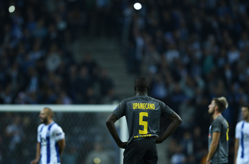 PORTO, PORTUGAL - NOVEMBER 01: Dayot Upamecano of RB Leipzig reacts at the end of the UEFA Champions League group G match between FC Porto and RB Leipzig at Estadio do Dragao on November 1, 2017 in Porto, Portugal. (Photo by Octavio Passos/Getty Images)