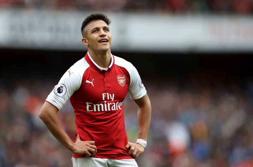 LONDON, ENGLAND - OCTOBER 01: Alexis Sanchez of Arsenal looks on during the Premier League match between Arsenal and Brighton and Hove Albion at Emirates Stadium on October 1, 2017 in London, England. (Photo by Julian Finney/Getty Images)
