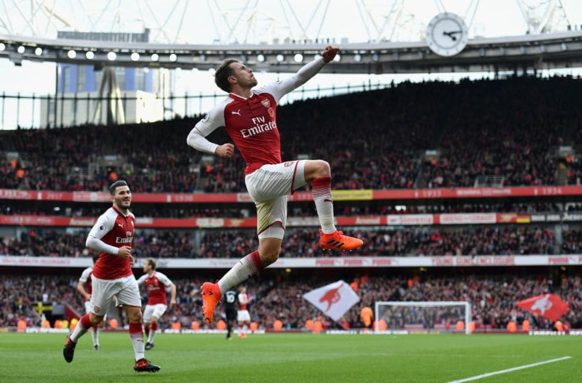 LONDON, ENGLAND - OCTOBER 28: Aaron Ramsey of Arsenal celebrates scoring his sides second goal during the Premier League match between Arsenal and Swansea City at Emirates Stadium on October 28, 2017 in London, England. (Photo by Dan Mullan/Getty Images)