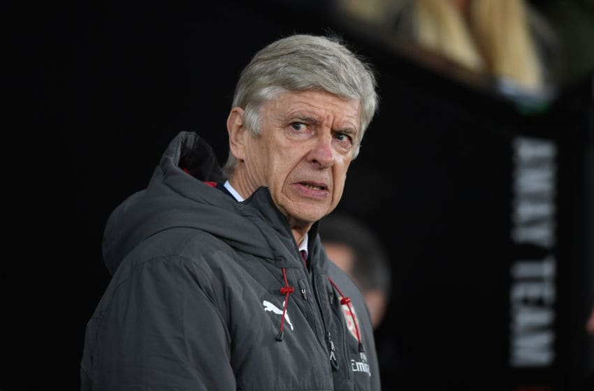 SWANSEA, WALES - JANUARY 30: Arsenal manager Arsene Wenger reacts before the Premier League match between Swansea City and Arsenal at Liberty Stadium on January 30, 2018 in Swansea, Wales. (Photo by Stu Forster/Getty Images)