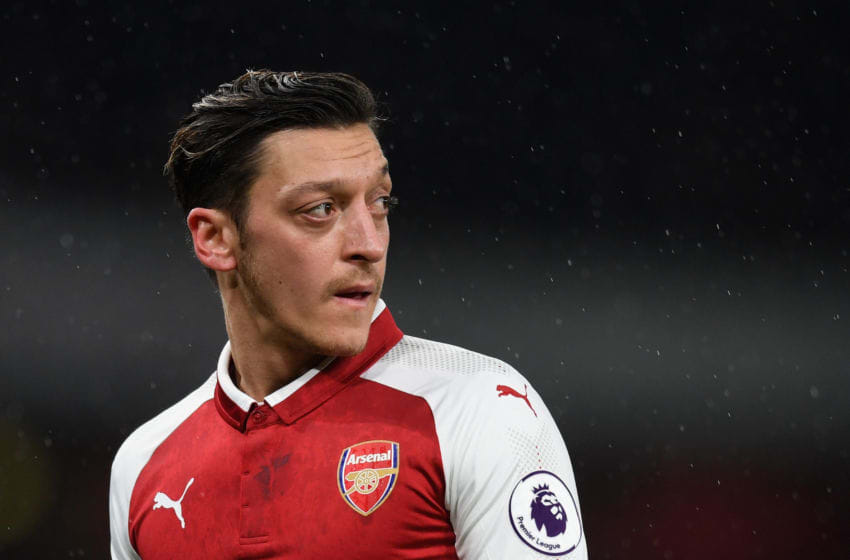 LONDON, ENGLAND - FEBRUARY 03: Mesut Ozil looks on during the Premier League match between Arsenal and Everton at Emirates Stadium on February 3, 2018 in London, England. (Photo by Michael Regan/Getty Images)
