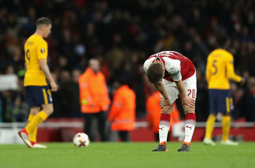 LONDON, ENGLAND - APRIL 26: Shkodran Mustafi of Arsenal looks dejected during the UEFA Europa League Semi Final leg one match between Arsenal FC and Atletico Madrid at Emirates Stadium on April 26, 2018 in London, United Kingdom. (Photo by Richard Heathcote/Getty Images)