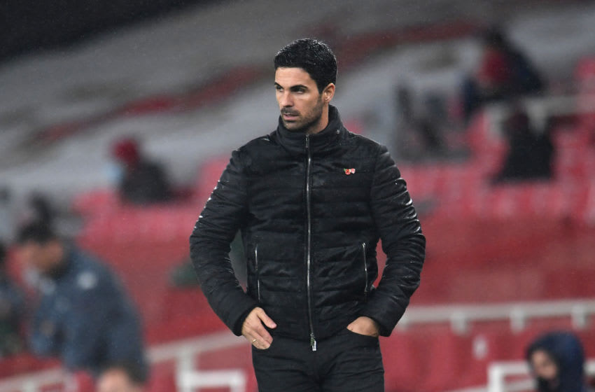LONDON, ENGLAND - NOVEMBER 08: Mikel Arteta, Manager of Arsenal looks on during the Premier League match between Arsenal and Aston Villa at Emirates Stadium on November 08, 2020 in London, England. Sporting stadiums around the UK remain under strict restrictions due to the Coronavirus Pandemic as Government social distancing laws prohibit fans inside venues resulting in games being played behind closed doors. (Photo by Andy Rain - Pool/Getty Images)
