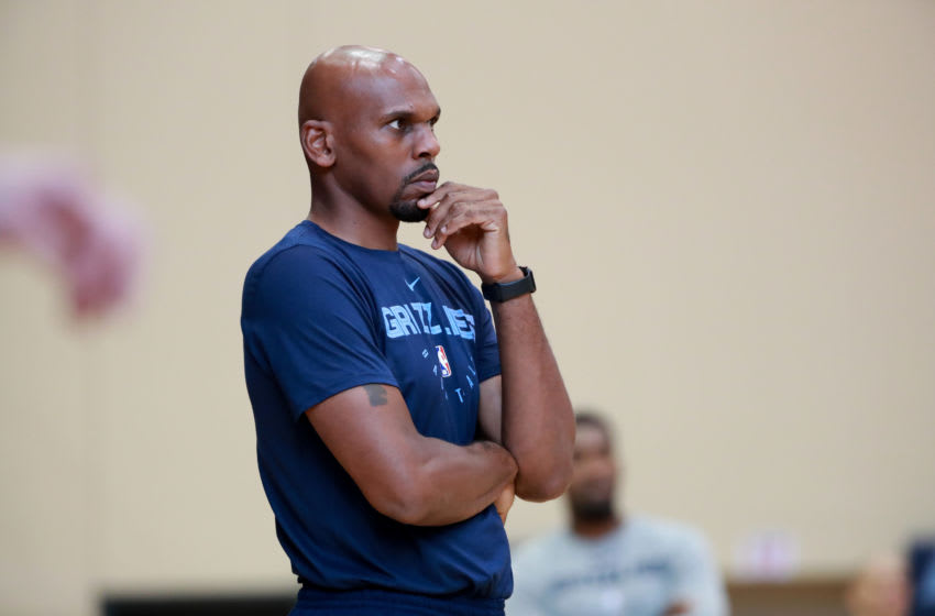 MEMPHIS, TN - SEPTEMBER 26: Jerry Stackhouse of the Memphis Grizzlies looks on and coaches during a team practice on September 26, 2018 at FedExForum practice facility in Memphis, Tennessee. NOTE TO USER: User expressly acknowledges and agrees that, by downloading and or using this photograph, User is consenting to the terms and conditions of the Getty Images License Agreement. Mandatory Copyright Notice: Copyright 2018 NBAE (Photo by Joe Murphy/NBAE via Getty Images)