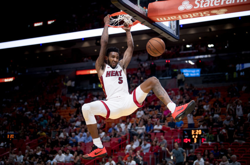 Derrick Jones Jr. #5 of the Miami Heat dunks the ball during the game against the New Orleans Pelicans (Photo by Rob Foldy/Getty Images)