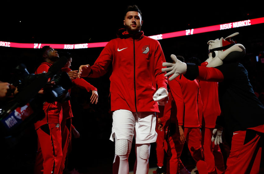 Jusef Nurkic #27 of the Portland Trail Blazers during pregame against the New Orleans Pelicans (Photo by Jonathan Ferrey/Getty Images)