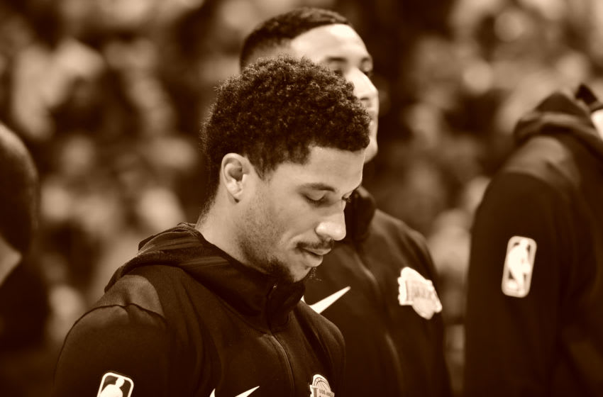 MEMPHIS, TN - DECEMBER 8: Josh Hart #3 of the Los Angeles Lakers stands for the National Anthem prior to a game against the Memphis Grizzlies on December 8, 2018 at FedExForum in Memphis, Tennessee. NOTE TO USER: User expressly acknowledges and agrees that, by downloading and or using this photograph, User is consenting to the terms and conditions of the Getty Images License Agreement. Mandatory Copyright Notice: Copyright 2018 NBAE (Photo by Jesse D. Garrabrant/NBAE via Getty Images)