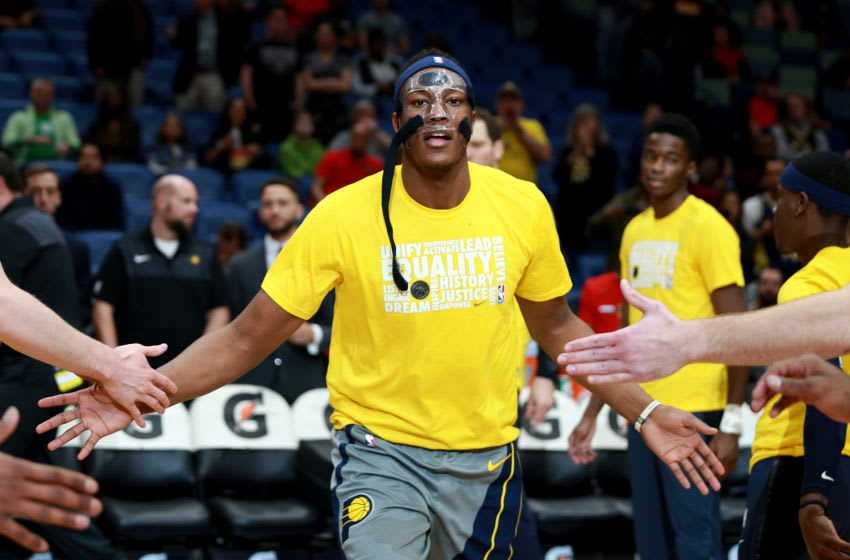 Myles Turner #33 of the Indiana Pacers walks onto the court during the first half of a game against the New Orleans Pelicans (Photo by Sean Gardner/Getty Images)