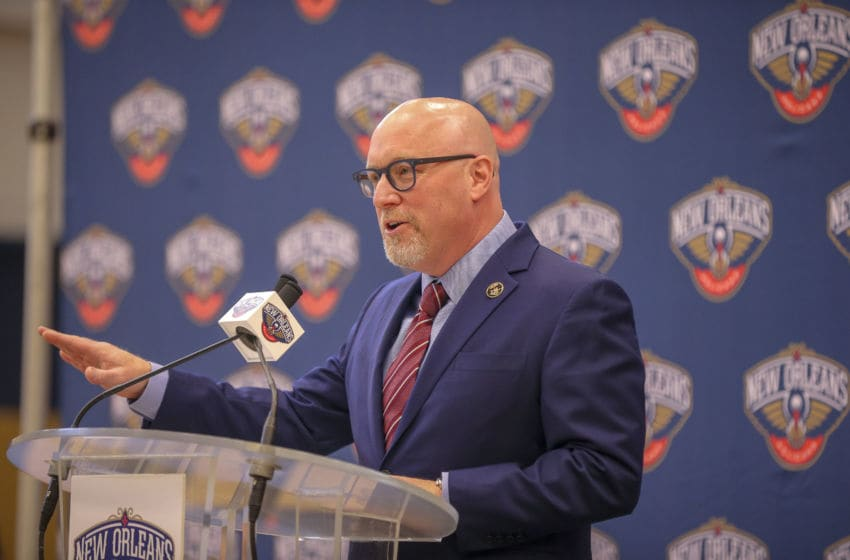 METAIRIE, LA - MARCH 14: David Griffin, Executive Vice President of Basketball Operations for the New Orleans Pelicans, talks to the media during an introductory press conference on April 17, 2019 at Ochsner Sports Performance Center in Metairie, Louisiana. NOTE TO USER: User expressly acknowledges and agrees that, by downloading and or using this Photograph, user is consenting to the terms and conditions of the Getty Images License Agreement. Mandatory Copyright Notice: Copyright 2019 NBAE (Photo by Layne Murdoch Jr./NBAE via Getty Images)