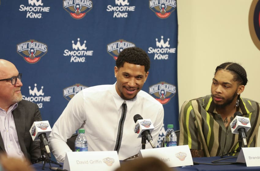 METAIRIE, LA - JULY 16: Josh Hart #3 of the New Orleans Pelicans speaks at an introductory press conference on July 16, 2019 at Ochsner Sports Performance Center in Metairie, Louisiana. NOTE TO USER: User expressly acknowledges and agrees that, by downloading and or using this Photograph, user is consenting to the terms and conditions of the Getty Images License Agreement. Mandatory Copyright Notice: Copyright 2019 NBAE (Photo by Layne Murdoch Jr./NBAE via Getty Images