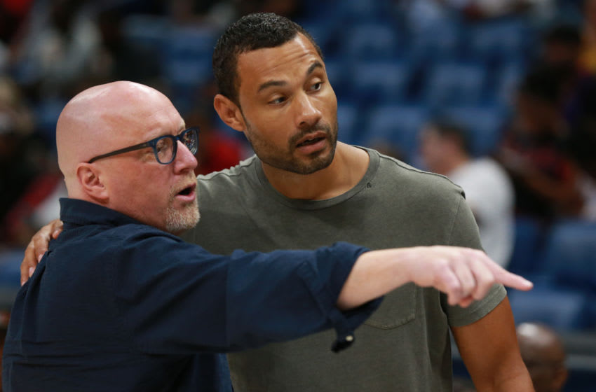 David Griffin talks with New Orleans Pelicans General Manager Trajan Langdon (Photo by Sean Gardner/BIG3 via Getty Images)