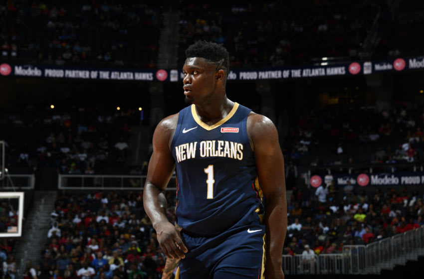 ATLANTA, GA - OCTOBER 7: Zion Williamson #1 of the New Orleans Pelicans (Photo by Scott Cunningham/NBAE via Getty Images)