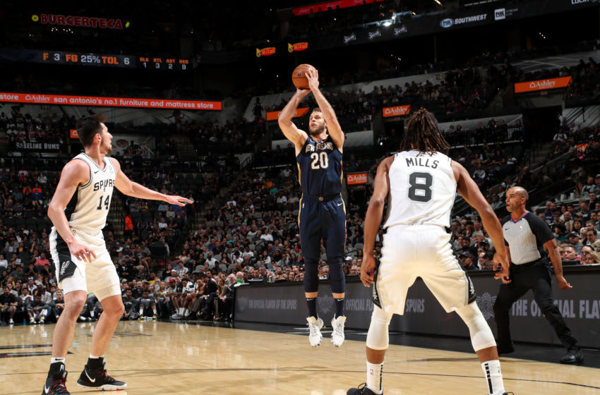 SAN ANTONIO, TX - OCTOBER 13: Nicolo Melli #20 of the New Orleans Pelicans shoots the ball against the San Antonio Spurs during a pre-season game on October 13, 2019 at the AT&T Center in San Antonio, Texas. NOTE TO USER: User expressly acknowledges and agrees that, by downloading and or using this photograph, user is consenting to the terms and conditions of the Getty Images License Agreement. Mandatory Copyright Notice: Copyright 2019 NBAE (Photos by Joe Murphy/NBAE via Getty Images)