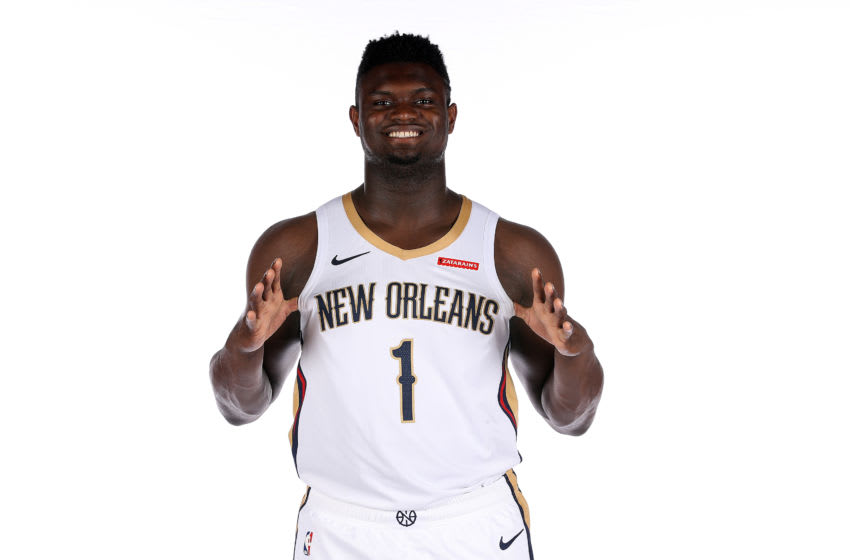 METAIRIE, LOUISIANA - SEPTEMBER 30: Zion Williamson #1 of the New Orleans Pelicans poses for a photo during Media Day at the Ochsner Sports Performance Center on September 30, 2019 in Metairie, Louisiana. (Photo by Chris Graythen/Getty Images)