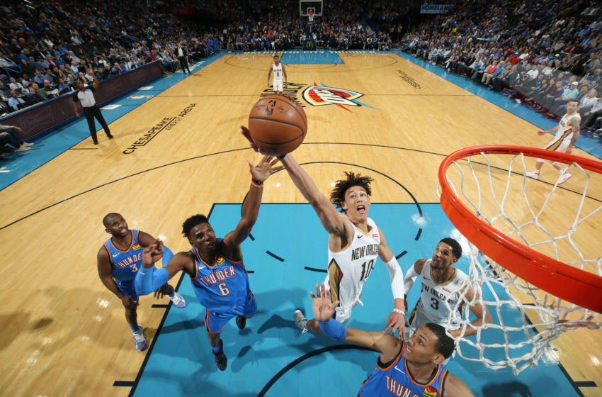OKLAHOMA CITY, OK- NOVEMBER 2: Hamidou Diallo #6 of the Oklahoma City Thunder and Jaxson Hayes #10 of the New Orleans Pelicans went up for a rebound during the game on November 2, 2019 at Chesapeake Energy Arena in Oklahoma City, Oklahoma. NOTE TO USER: User expressly acknowledges and agrees that, by downloading and or using this photograph, User is consenting to the terms and conditions of the Getty Images License Agreement. Mandatory Copyright Notice: Copyright 2019 NBAE (Photo by Zach Beeker/NBAE via Getty Images)