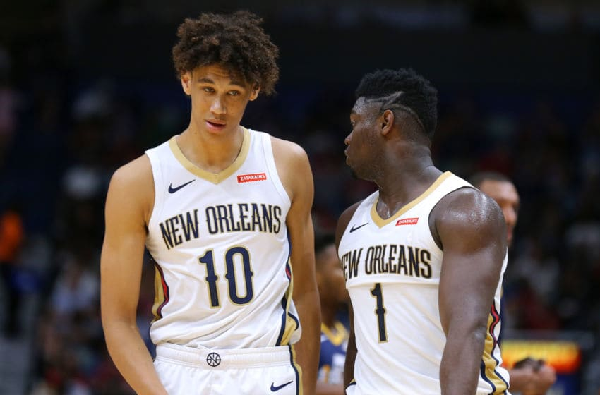 Zion Williamson #1 of the New Orleans Pelicans and Jaxson Hayes: (Photo by Jonathan Bachman/Getty Images)