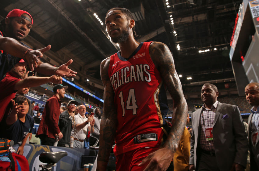 NEW ORLEANS, LA - NOVEMBER 19: Brandon Ingram #14 of the New Orleans Pelicans leaves the floor following the game against the Portland Trail Blazers on November 19, 2019 at Smoothie King Center in New Orleans, Louisiana. NOTE TO USER: User expressly acknowledges and agrees that, by downloading and/or using this photograph, User is consenting to the terms and conditions of the Getty Images License Agreement. Mandatory Copyright Notice: Copyright 2019 NBAE (Photo by Layne Murdoch Jr./NBAE via Getty Images)