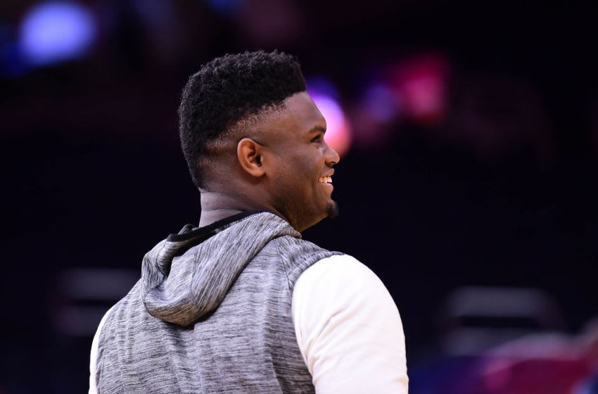 SAN FRANCISCO, CA - DECEMBER 20: Zion Williamson #1 of the New Orleans Pelicans warms up before the game against the Golden State Warriors on December 20, 2019 at Chase Center in San Francisco, California. NOTE TO USER: User expressly acknowledges and agrees that, by downloading and or using this photograph, user is consenting to the terms and conditions of Getty Images License Agreement. Mandatory Copyright Notice: Copyright 2019 NBAE (Photo by Noah Graham/NBAE via Getty Images)