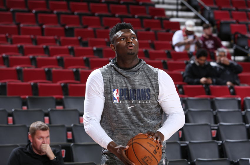 PORTLAND, OR - DECEMBER 23: Zion Williamson #1 of the New Orleans Pelicans warms up before the game against the New Orleans Pelicans on December 23, 2019 at the Moda Center in Portland, Oregon. NOTE TO USER: User expressly acknowledges and agrees that, by downloading and or using this Photograph, user is consenting to the terms and conditions of the Getty Images License Agreement. Mandatory Copyright Notice: Copyright 2019 NBAE (Photo by Sam Forencich/NBAE via Getty Images)