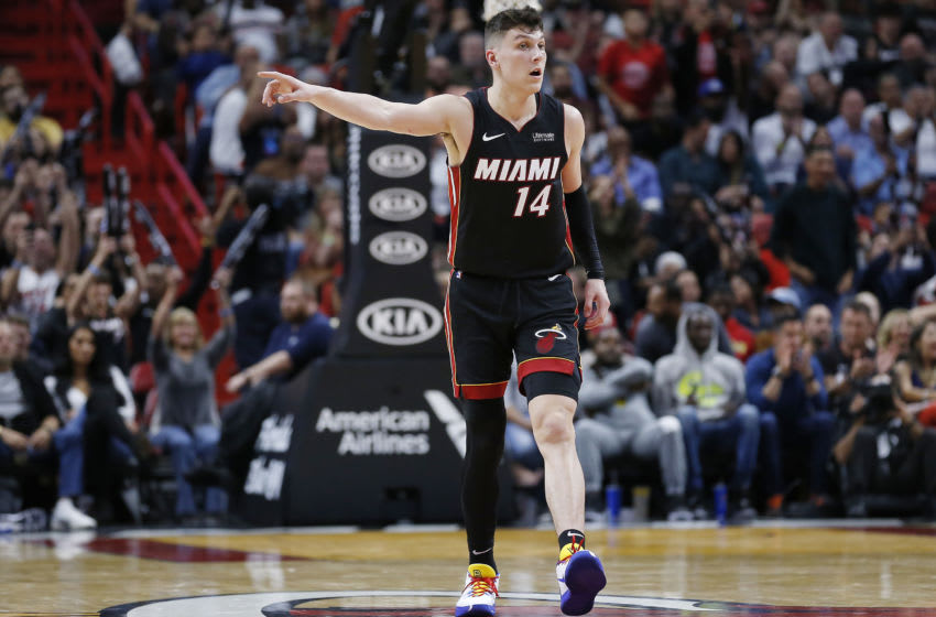Tyler Herro #14 of the Miami Heat looks on against the New Orleans Pelicans (Photo by Michael Reaves/Getty Images)