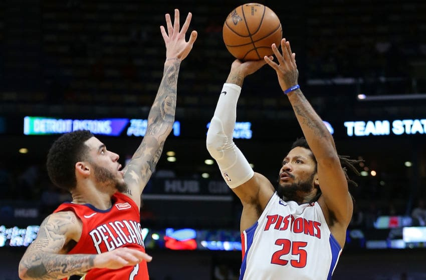 NEW ORLEANS, LOUISIANA - DECEMBER 09: Derrick Rose #25 of the Detroit Pistons shoots against Lonzo Ball #2 of the New Orleans Pelicans during the second half at the Smoothie King Center on December 09, 2019 in New Orleans, Louisiana. NOTE TO USER: User expressly acknowledges and agrees that, by downloading and or using this Photograph, user is consenting to the terms and conditions of the Getty Images License Agreement. (Photo by Jonathan Bachman/Getty Images)