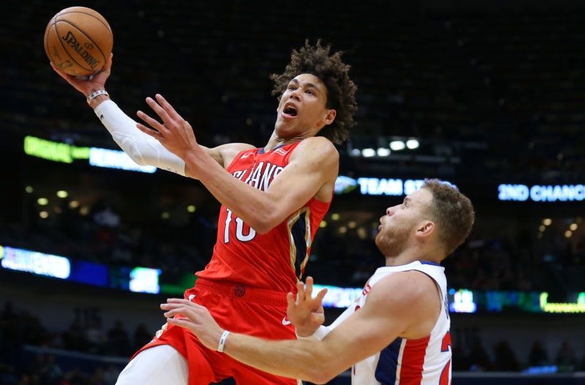 Jaxson Hayes #10 of the New Orleans Pelicans shoots against Blake Griffin (Photo by Jonathan Bachman/Getty Images)