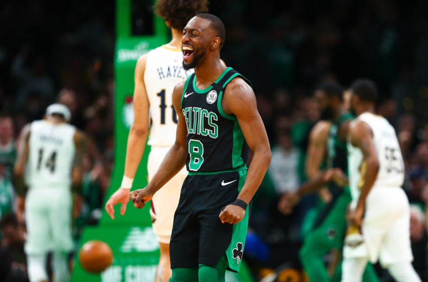 Kemba Walker #8 of the Boston Celtics reacts during a game against the New Orleans Pelicans (Photo by Adam Glanzman/Getty Images)