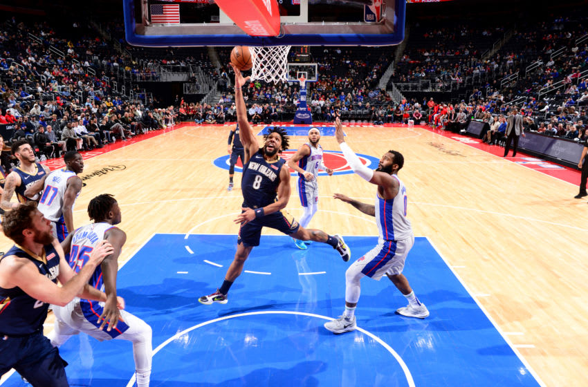 DETROIT, MI - JANUARY 13: Jahlil Okafor #8 of the New Orleans Pelicans drives to the basket during a game against the Detroit Pistons on January 13, 2020 at Little Caesars Arena in Detroit, Michigan. NOTE TO USER: User expressly acknowledges and agrees that, by downloading and/or using this photograph, User is consenting to the terms and conditions of the Getty Images License Agreement. Mandatory Copyright Notice: Copyright 2020 NBAE (Photo by Chris Schwegler/NBAE via Getty Images)