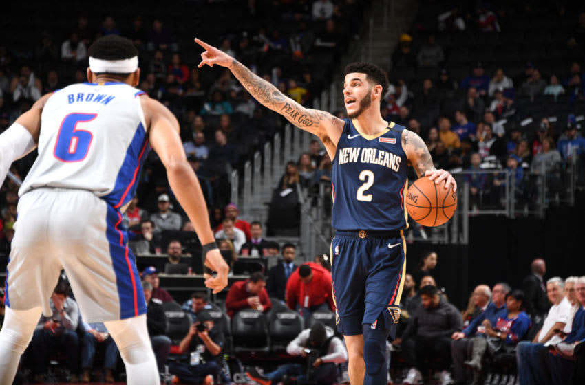 DETROIT, MI - JANUARY 13: Lonzo Ball #2 of the New Orleans Pelicans: Copyright 2020 NBAE (Photo by Chris Schwegler/NBAE via Getty Images)