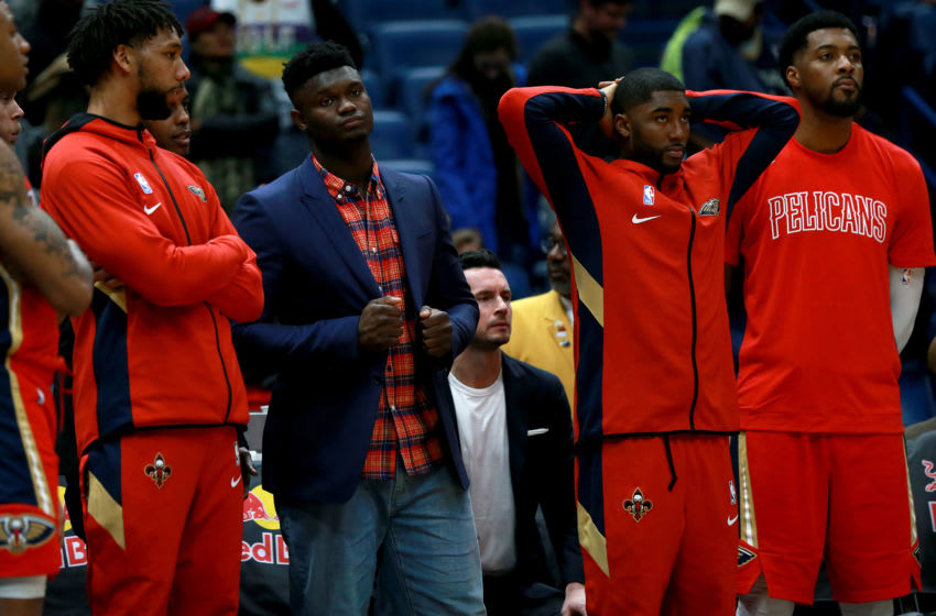 NEW ORLEANS, LOUISIANA - DECEMBER 17: New Orleans Pelicans players react as their team was defeated by the Brooklyn Nets 108 - 101 during a NBA game at Smoothie King Center on December 17, 2019 in New Orleans, Louisiana. NOTE TO USER: User expressly acknowledges and agrees that, by downloading and or using this photograph, User is consenting to the terms and conditions of the Getty Images License Agreement. (Photo by Sean Gardner/Getty Images)