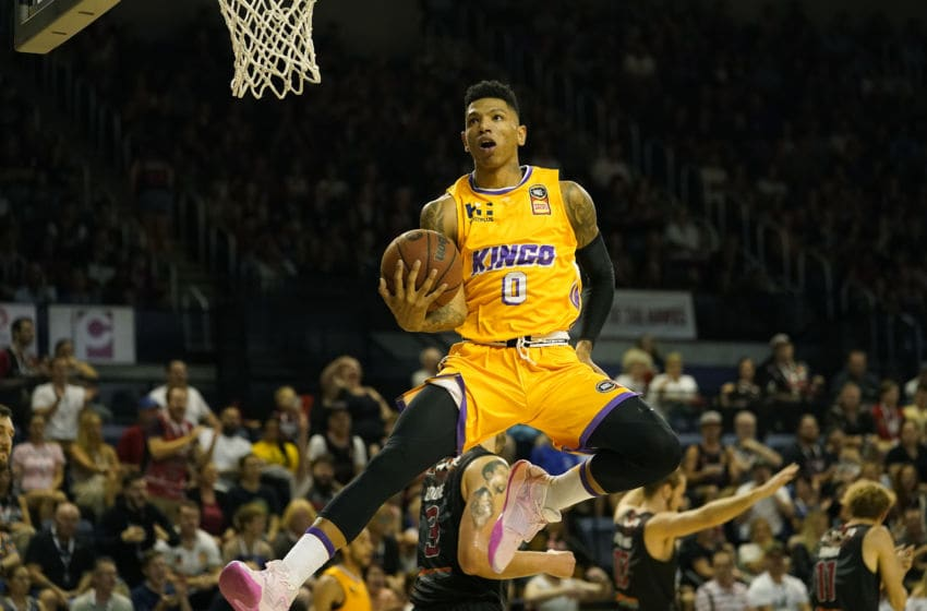 WOLLONGONG, AUSTRALIA - JANUARY 24: Didi Louzada of the Kings shoots for the basket during the round 17 NBL match between the Illawarra Hawks and the Sydney Kings at WIN Entertainment Centre on January 24, 2020 in Wollongong, Australia. (Photo by Mark Evans/Getty Images)