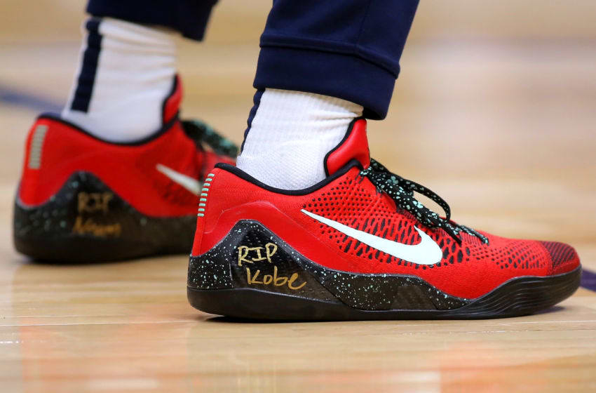 NEW ORLEANS, LOUISIANA - JANUARY 26: Nike shoe worn by Lonzo Ball #2 of the New Orleans Pelicans memorializing former NBA player Kobe Bryant who was killed in a helicopter crash are pictured as he warms up before a game against the Boston Celtics at the Smoothie King Center on January 26, 2020 in New Orleans, Louisiana. NOTE TO USER: User expressly acknowledges and agrees that, by downloading and or using this Photograph, user is consenting to the terms and conditions of the Getty Images License Agreement. (Photo by Jonathan Bachman/Getty Images)