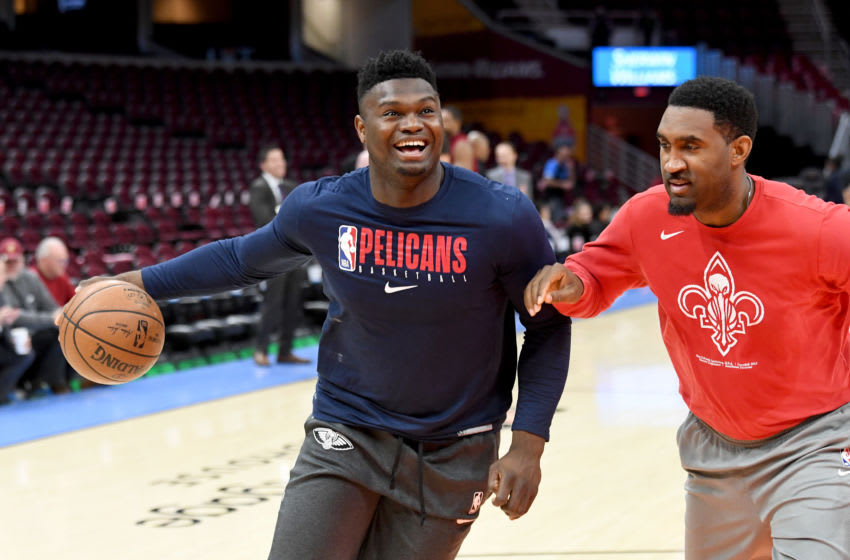 CLEVELAND, OHIO - JANUARY 28: Zion Williamson #1 of the New Orleans Pelicans warms put prior to the game against the Cleveland Cavaliers at Rocket Mortgage Fieldhouse on January 28, 2020 in Cleveland, Ohio. NOTE TO USER: User expressly acknowledges and agrees that, by downloading and/or using this photograph, user is consenting to the terms and conditions of the Getty Images License Agreement. (Photo by Jason Miller/Getty Images)
