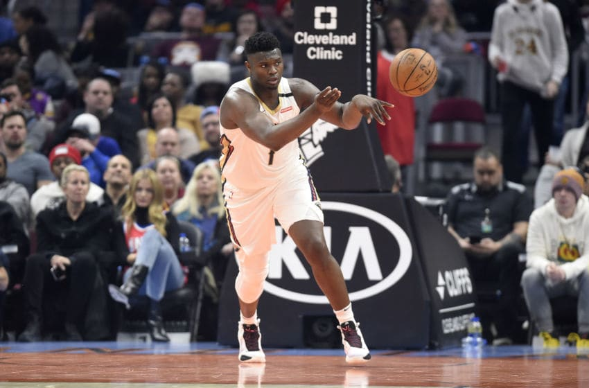 CLEVELAND, OHIO - JANUARY 28: Zion Williamson #1 of the New Orleans Pelicans passes down court during the first half against the Cleveland Cavaliers at Rocket Mortgage Fieldhouse on January 28, 2020 in Cleveland, Ohio. NOTE TO USER: User expressly acknowledges and agrees that, by downloading and/or using this photograph, user is consenting to the terms and conditions of the Getty Images License Agreement. (Photo by Jason Miller/Getty Images)