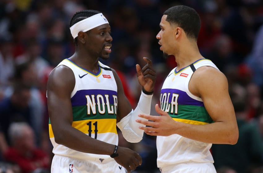 NEW ORLEANS, LOUISIANA - FEBRUARY 04: Jrue Holiday #11 of the New Orleans Pelicans and Josh Hart #3 of the New Orleans Pelicans talk against the Milwaukee Bucks during a game at the Smoothie King Center on February 04, 2020 in New Orleans, Louisiana. NOTE TO USER: User expressly acknowledges and agrees that, by downloading and or using this Photograph, user is consenting to the terms and conditions of the Getty Images License Agreement. (Photo by Jonathan Bachman/Getty Images)